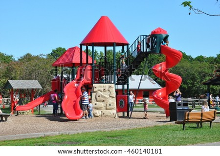 HAMPTON, VA - SEP 8: Playground at the Bluebird Gap Farm in Hampton, Virginia, as seen on Sep 8, 2015. The 60-acre park includes a playground, picnic areas, a small lake, and the Azalea Trail.