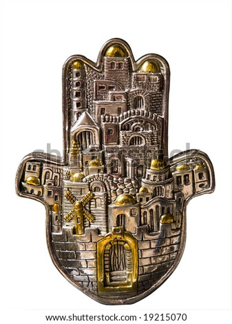 Hamsa hand amulet, used to ward off the evil eye in mediterranean countries. - stock photo