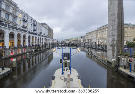 Hamurg (Germany) canal in city center. - stock photo