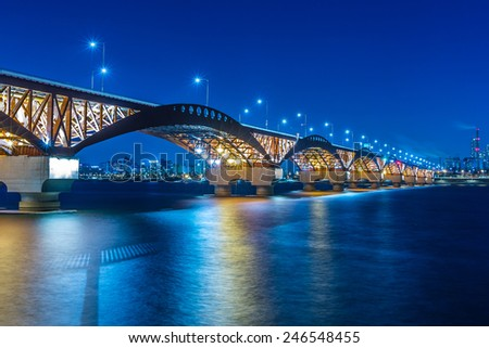 Han river with Seongsan bridge at night in Seoul, Korea