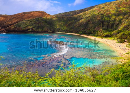 Hanauma Bay, Oahu, Hawaii - Known for Snorkeling - stock photo