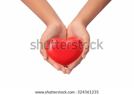 Hand acting with red heart isolated on white background with clipping path. - stock photo