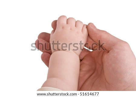 Hand adult and child isolated on white background - stock photo