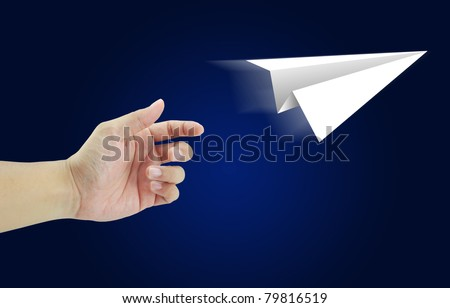 Hand aircraft paper fold to success for design rocket paper - stock photo