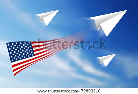 hand aircraft paper Independent freedom america - stock photo