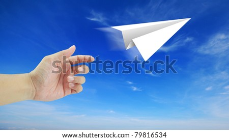 hand aircraft paper to success blue sky cloud cloudy holiday travel - stock photo