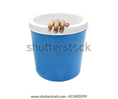 hand amputated in the ice cooler isolated on white backgruond