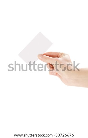 hand and a business card isolated on white