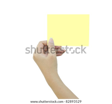 Hand and a card on white background