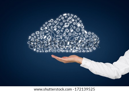 Hand and a data cloud 2 - stock photo