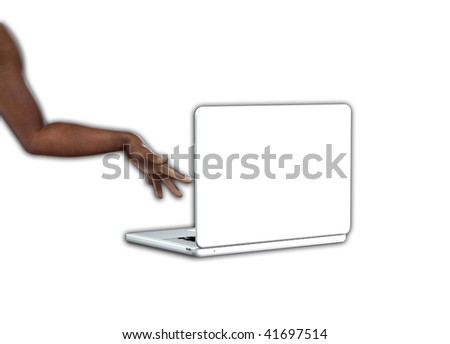 Hand and a laptop.