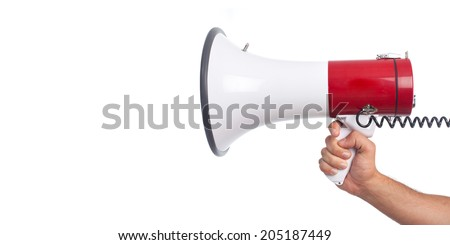 hand and a megaphone - stock photo