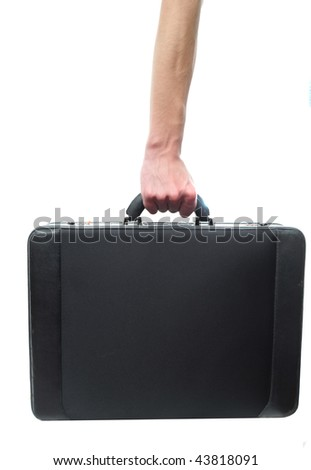 Hand and arm holding briefcase isolated on white background - stock photo