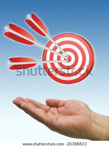 hand and arrow target in blue sky