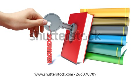 hand and book with key in lock on white background. - stock photo