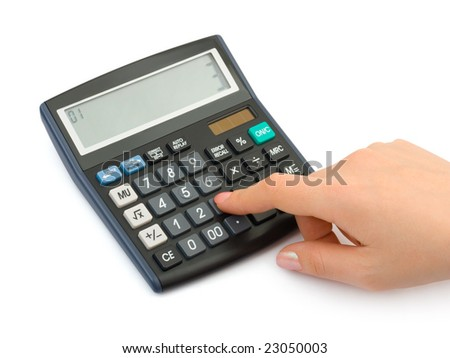 Hand and business calculator isolated on white background