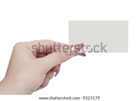 hand and business card isolated on a white background