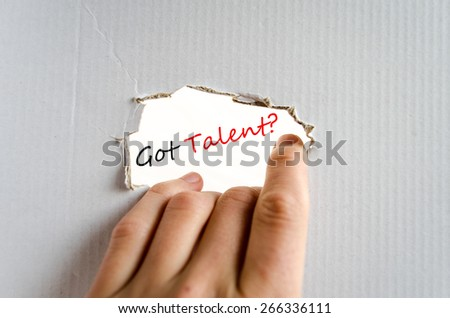 Hand and business concept text on the cardboard background