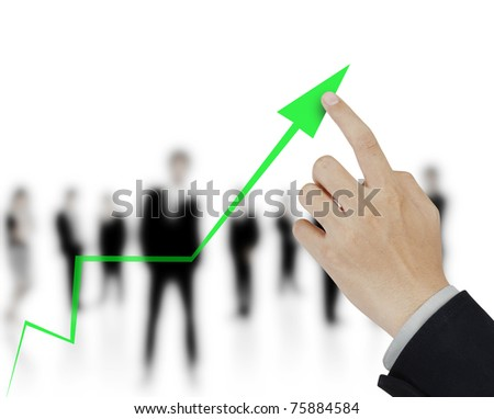 hand and business graph - stock photo