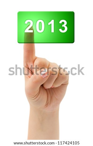 Hand and button 2013 isolated on white background - stock photo
