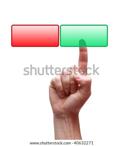Hand and buttons Yes/No isolated on white background - stock photo