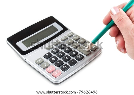 hand and calculator isolated on a white background - stock photo