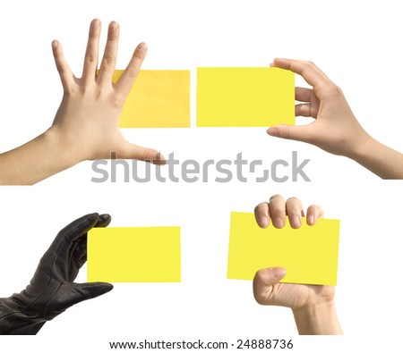 hand and cards isolated on white