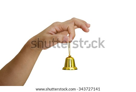 hand and Christmas bell isolated on white background - stock photo