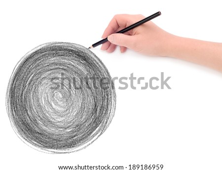 hand and circle pencil scribbles background texture - stock photo