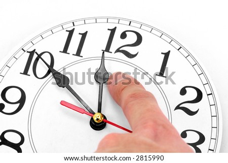 hand and clock with white background, concept of time control