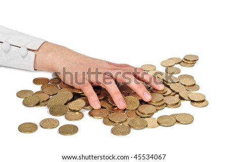 Hand and coins - stock photo