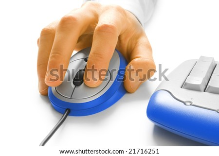 Hand and computer mouse on white - stock photo