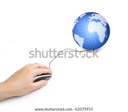 hand and computer mouse with earth globe isolated background - stock photo