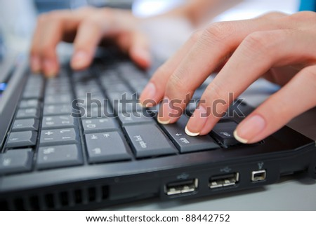 hand and computer shift key as working stlye - stock photo