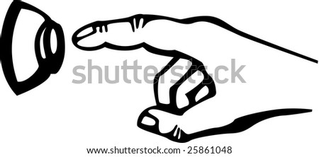 hand and doorbell button - stock photo