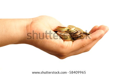 hand and euro cents - stock photo