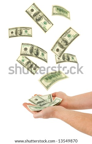 Hand and falling money, isolated on white background