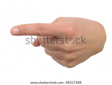 hand and finger pointing at / showing direction - stock photo