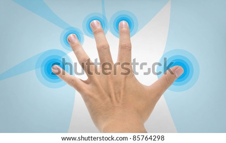 hand and finger touching on background - stock photo