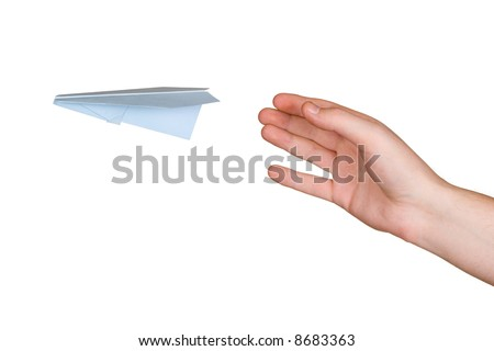 Hand and flying paper plane, isolated on white background