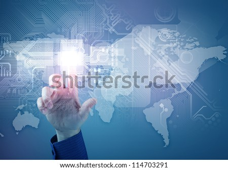 hand and future technology. touch button inerface illustration - stock photo