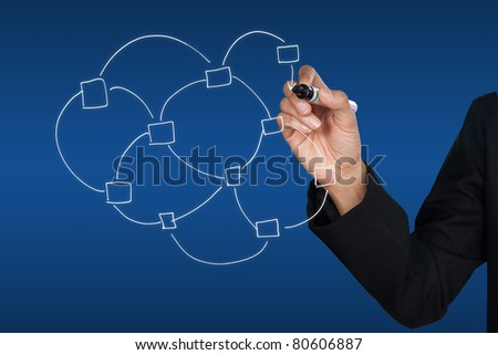 hand and global network icon - stock photo