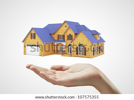 hand and house on white background