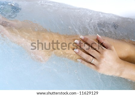 hand and leg inside a whirlpool taking care and relaxing