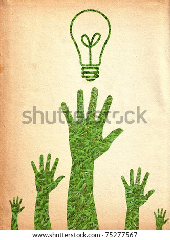 Hand and light bulb.(Green energy concept) - stock photo