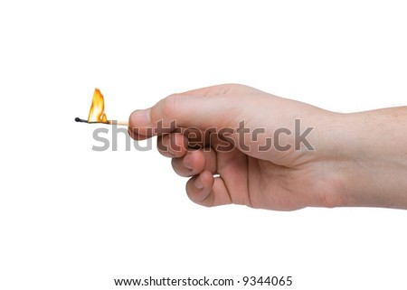 Hand and match, isolated on white background - stock photo