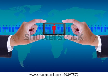 hand and mobile recruitment right man ,human resource concept - stock photo