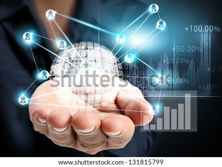 Hand and modern social buttons - stock photo