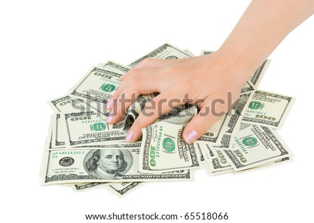 Hand and money isolated on white background - stock photo
