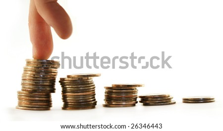 Hand and money staircase isolated on white background